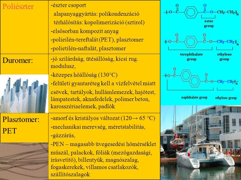 Poliészter -észter csoport alapanyaggyártás: polikondenzáció térhálósítás: kopolimerizáció (sztirol) -elsősorban kompozit anyag -polieilén-tereftalát