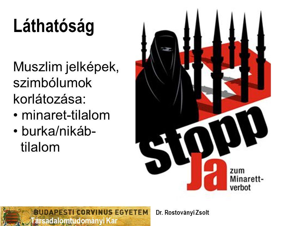Társadalomtudományi Kar Láthatóság Muszlim jelképek, szimbólumok korlátozása: minaret-tilalom burka/nikáb- tilalom Dr.