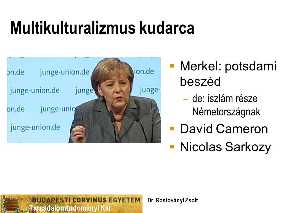 Társadalomtudományi Kar Multikulturalizmus kudarca  Merkel: potsdami beszéd –de: iszlám része Németországnak  David Cameron  Nicolas Sarkozy Dr.