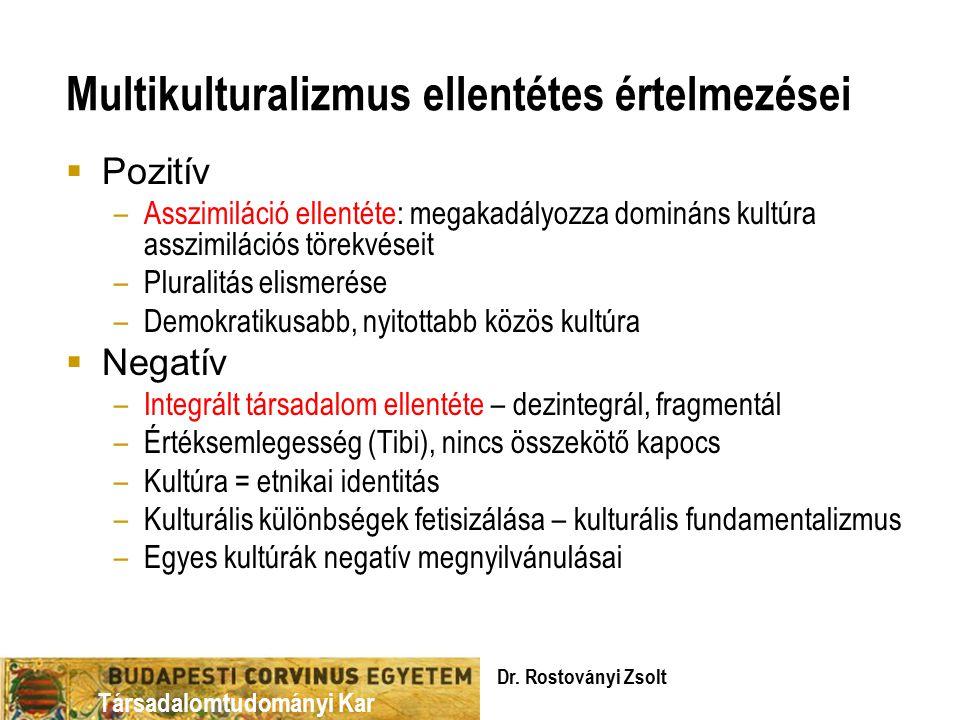 Társadalomtudományi Kar Multikulturalizmus ellentétes értelmezései  Pozitív –Asszimiláció ellentéte: megakadályozza domináns kultúra asszimilációs törekvéseit –Pluralitás elismerése –Demokratikusabb, nyitottabb közös kultúra  Negatív –Integrált társadalom ellentéte – dezintegrál, fragmentál –Értéksemlegesség (Tibi), nincs összekötő kapocs –Kultúra = etnikai identitás –Kulturális különbségek fetisizálása – kulturális fundamentalizmus –Egyes kultúrák negatív megnyilvánulásai Dr.