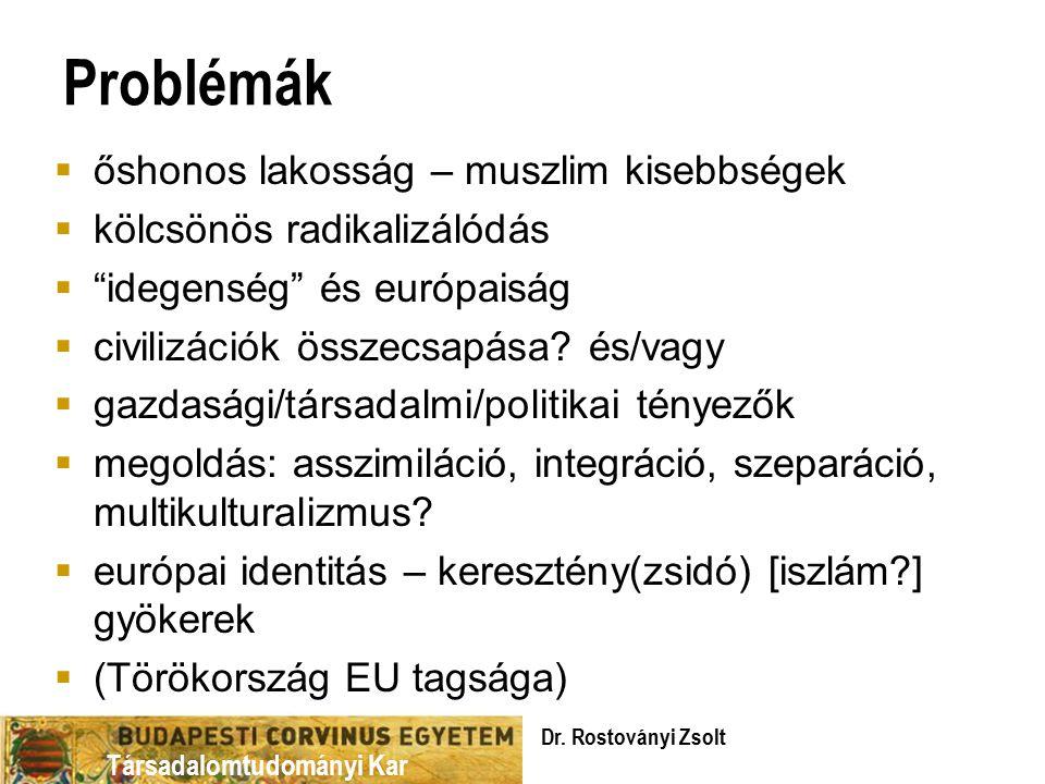 Társadalomtudományi Kar Problémák  őshonos lakosság – muszlim kisebbségek  kölcsönös radikalizálódás  idegenség és európaiság  civilizációk összecsapása.