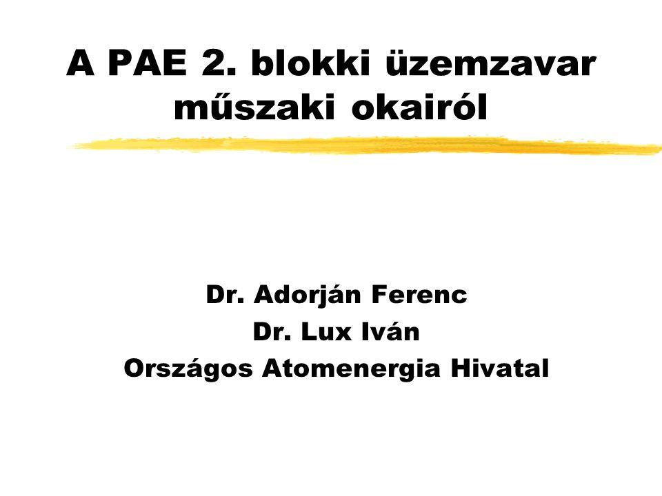 A PAE 2. blokki üzemzavar műszaki okairól Dr. Adorján Ferenc Dr. Lux Iván Országos Atomenergia Hivatal