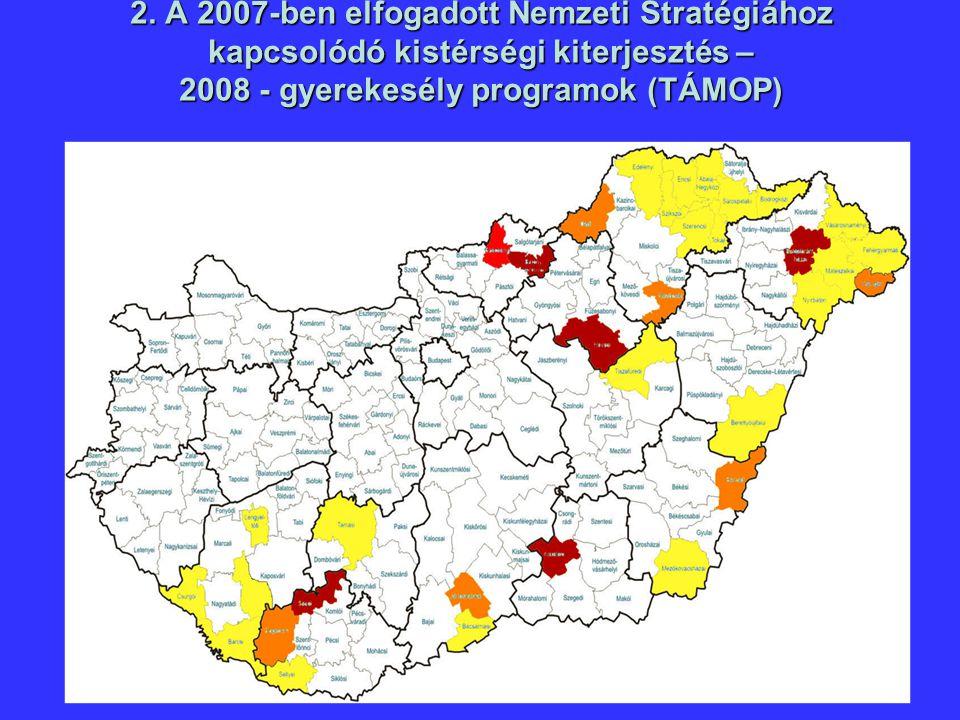 2. A 2007-ben elfogadott Nemzeti Stratégiához kapcsolódó kistérségi kiterjesztés – 2008 - gyerekesély programok (TÁMOP)