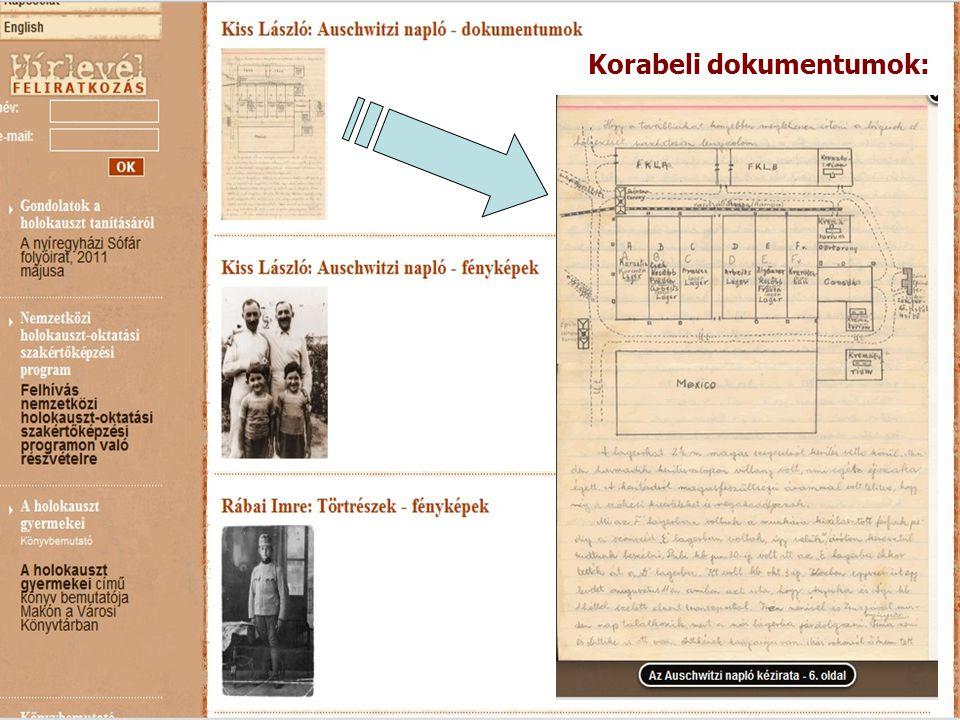 Korabeli dokumentumok: