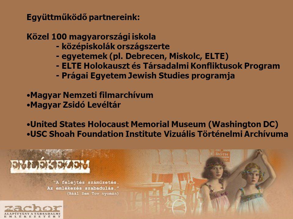 Együttműködő partnereink: Közel 100 magyarországi iskola - középiskolák országszerte - egyetemek (pl.