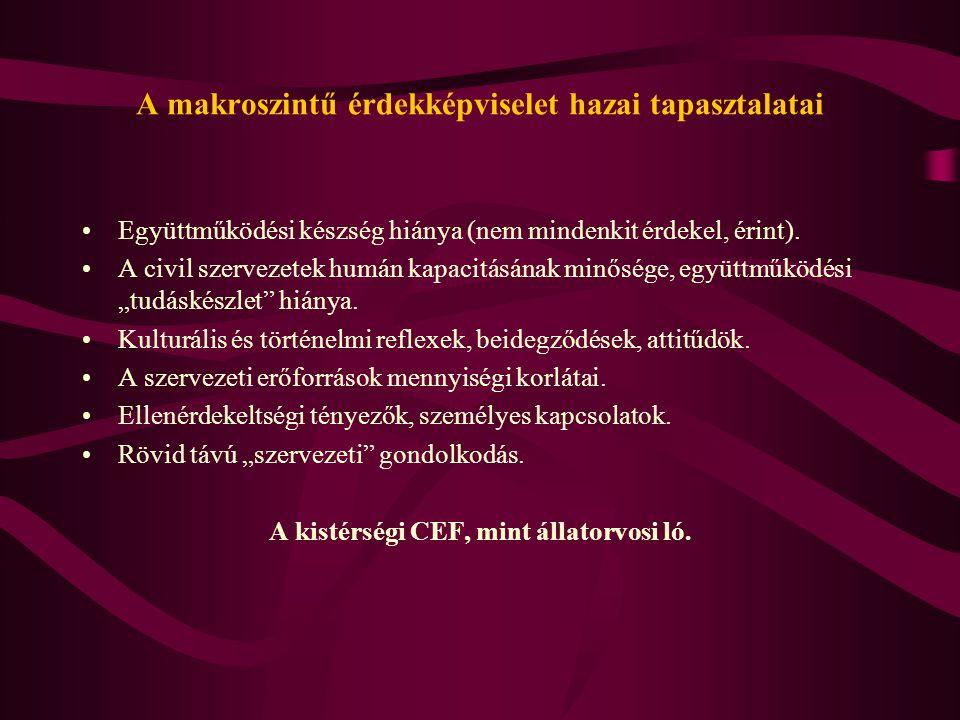 Konklúziók Önkormányzati-civil együttműködés vonatkozásában: A kistérség nem identitás kategória (egyelőre).