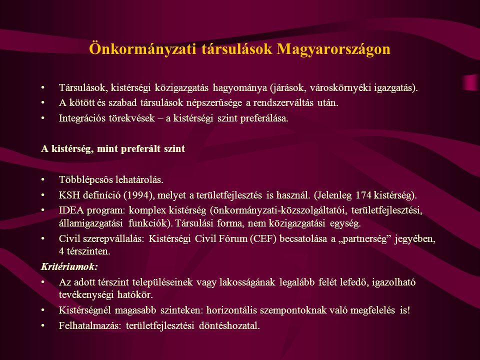 Önkormányzati társulások Magyarországon Társulások, kistérségi közigazgatás hagyománya (járások, városkörnyéki igazgatás). A kötött és szabad társulás