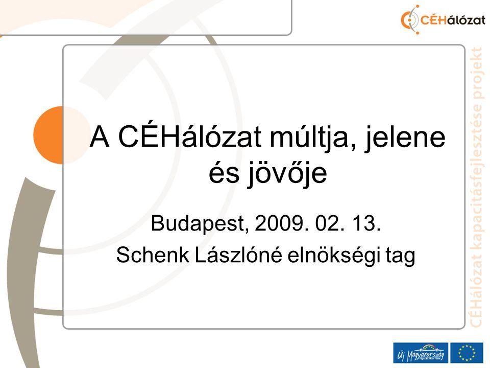 A CÉHálózat múltja, jelene és jövője Budapest, 2009. 02. 13. Schenk Lászlóné elnökségi tag