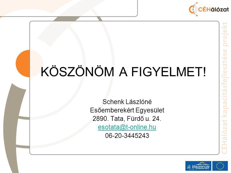 KÖSZÖNÖM A FIGYELMET. Schenk Lászlóné Esőemberekért Egyesület 2890.