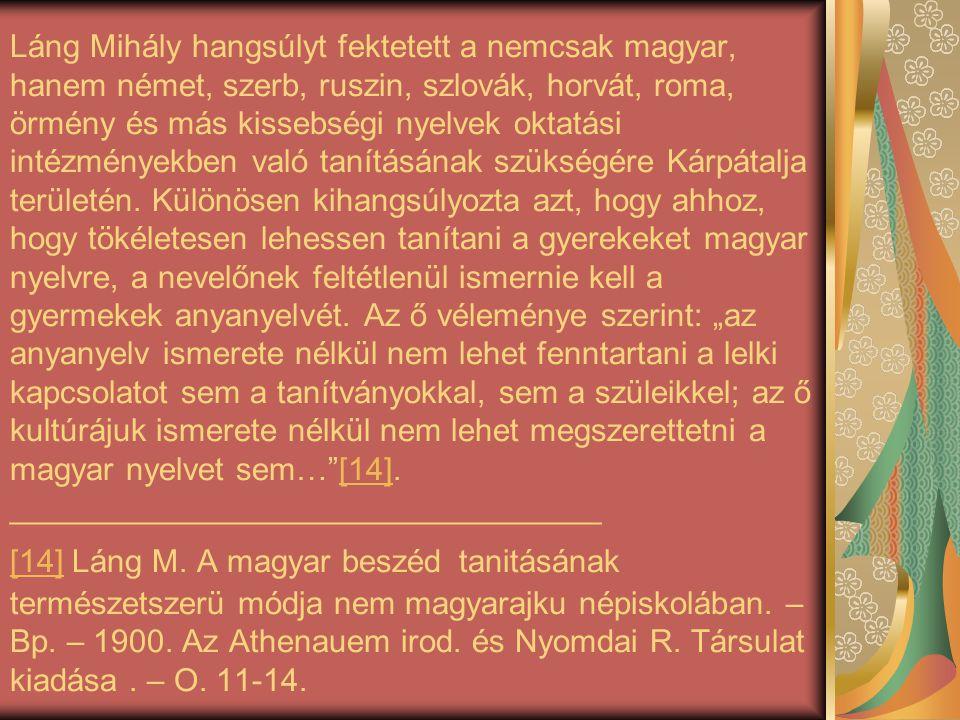 Láng Mihály hangsúlyt fektetett a nemcsak magyar, hanem német, szerb, ruszin, szlovák, horvát, roma, örmény és más kissebségi nyelvek oktatási intézmé