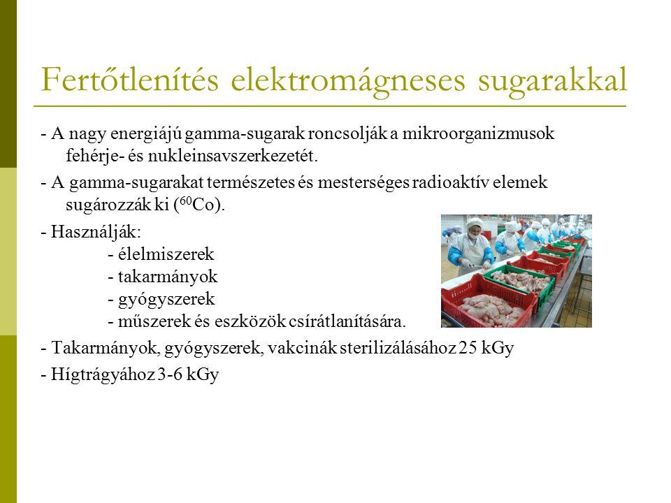 Fertőtlenítés elektromágneses sugarakkal - A nagy energiájú gamma-sugarak roncsolják a mikroorganizmusok fehérje- és nukleinsavszerkezetét. - A gamma-