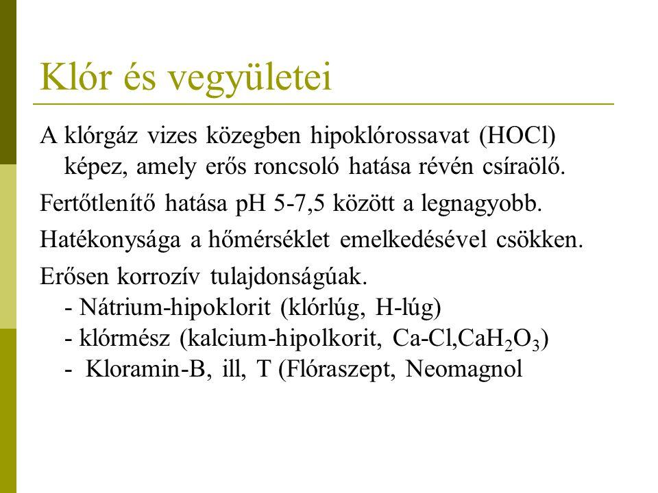 Klór és vegyületei A klórgáz vizes közegben hipoklórossavat (HOCl) képez, amely erős roncsoló hatása révén csíraölő. Fertőtlenítő hatása pH 5-7,5 közö