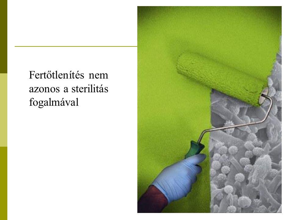 Fertőtlenítés gáz halmazállapotú vegyszerekkel  Előnye: alacsony hőmérsékleten végezhető  Csomagolt anyag is csírátlanítható  Szellőztetéssel a vegyi anyag eltávozik  Organikus anyagok jelenlétében is hat  Vegetatív és spórás mikróbát is pusztít  Csekély károsító hatás  Hátránya  Hosszú hatás idő ( 4-6 óra)  Különleges készülék kell hozzá  A fertőtlenítő anyag mérgező, gyúlékony