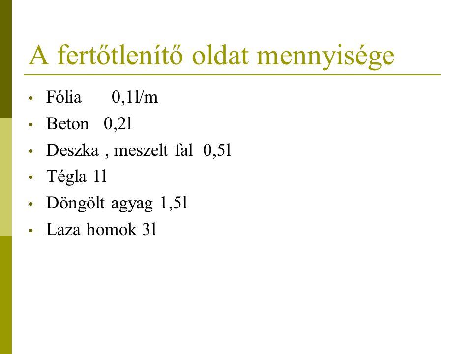 A fertőtlenítő oldat mennyisége Fólia 0,1l/m Beton 0,2l Deszka, meszelt fal 0,5l Tégla 1l Döngölt agyag 1,5l Laza homok 3l