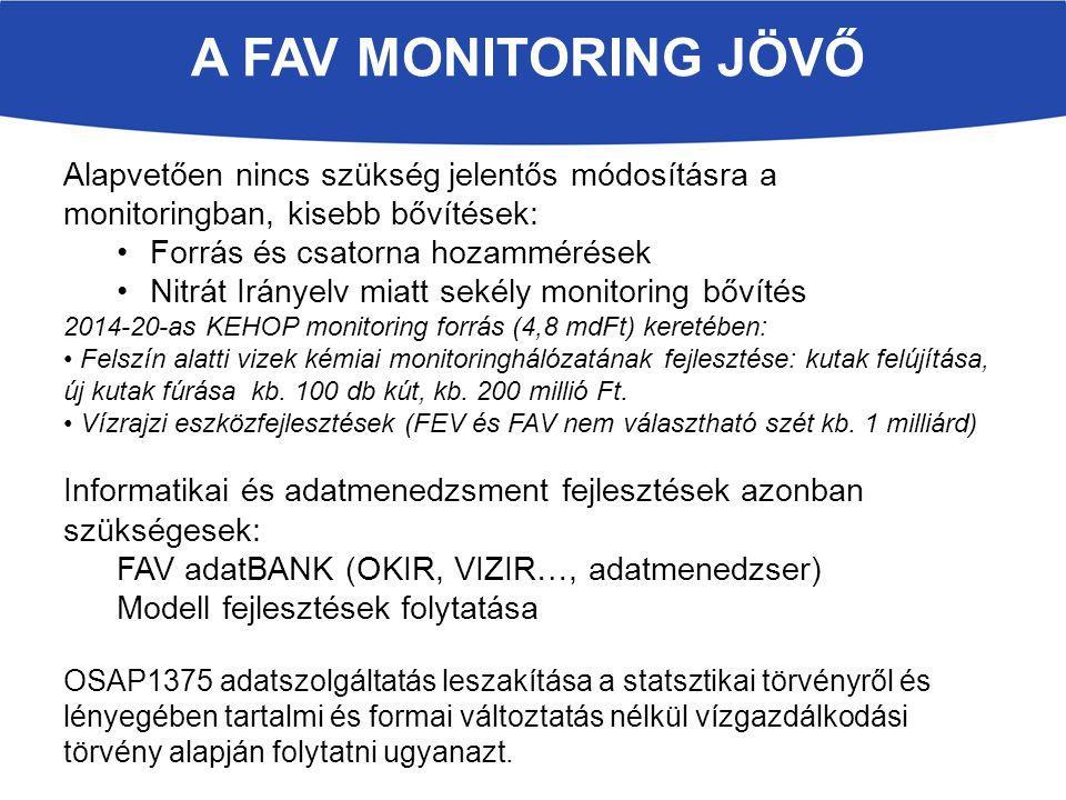 A FAV MONITORING JÖVŐ Alapvetően nincs szükség jelentős módosításra a monitoringban, kisebb bővítések: Forrás és csatorna hozammérések Nitrát Irányelv miatt sekély monitoring bővítés 2014-20-as KEHOP monitoring forrás (4,8 mdFt) keretében: Felszín alatti vizek kémiai monitoringhálózatának fejlesztése: kutak felújítása, új kutak fúrása kb.
