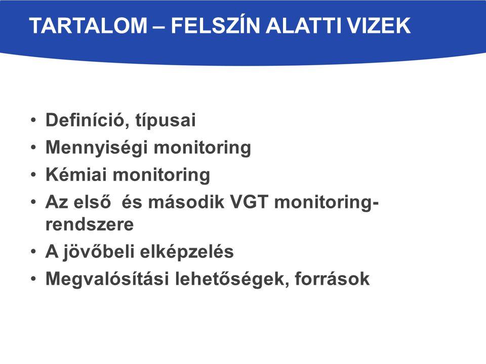 Definíció, típusai Mennyiségi monitoring Kémiai monitoring Az első és második VGT monitoring- rendszere A jövőbeli elképzelés Megvalósítási lehetőségek, források TARTALOM – FELSZÍN ALATTI VIZEK