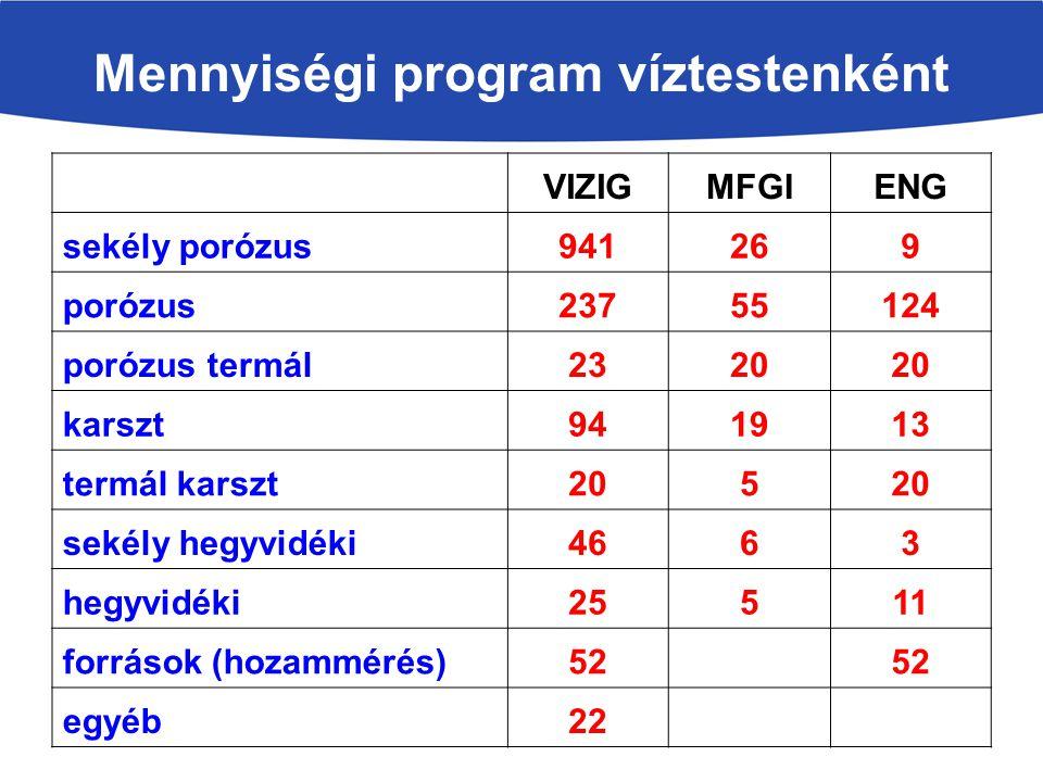 Mennyiségi program víztestenként VIZIGMFGIENG sekély porózus941269 porózus23755124 porózus termál2320 karszt941913 termál karszt205 sekély hegyvidéki4663 hegyvidéki25511 források (hozammérés)52 egyéb22