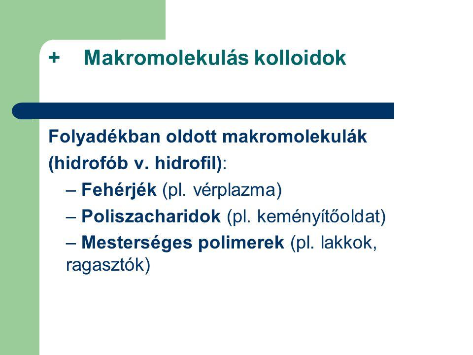 + Makromolekulás kolloidok Folyadékban oldott makromolekulák (hidrofób v. hidrofil): – Fehérjék (pl. vérplazma) – Poliszacharidok (pl. keményítőoldat)