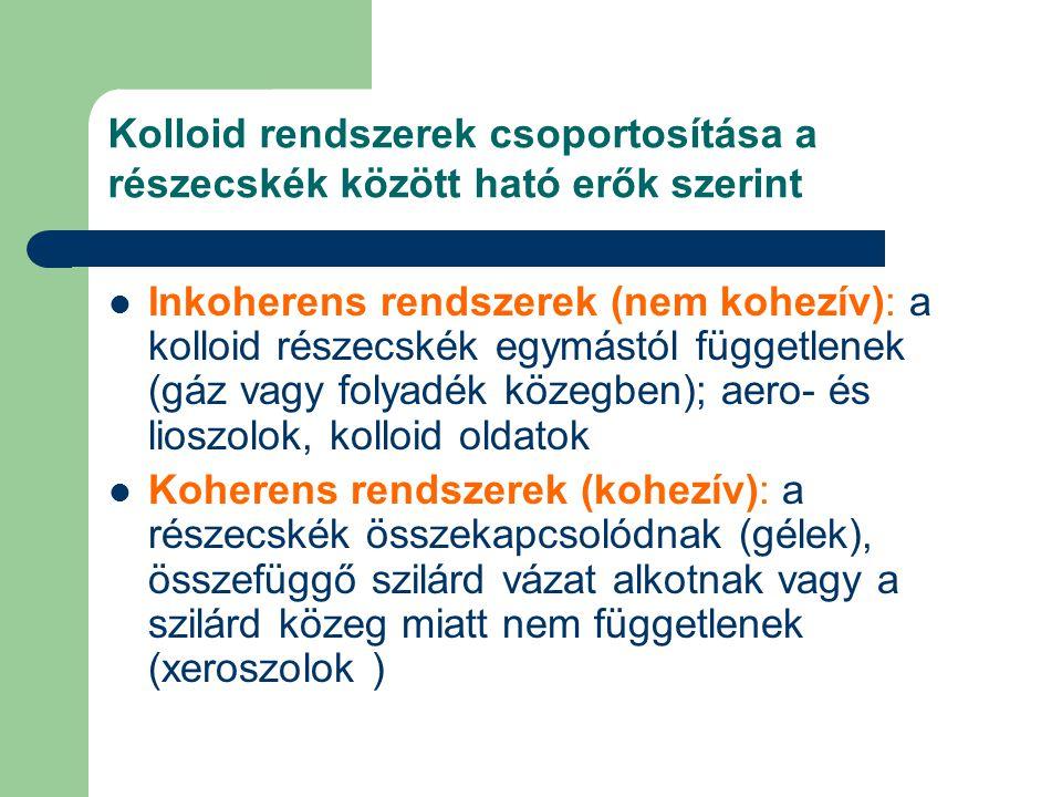 Kolloid rendszerek csoportosítása a részecskék között ható erők szerint Inkoherens rendszerek (nem kohezív): a kolloid részecskék egymástól függetlene