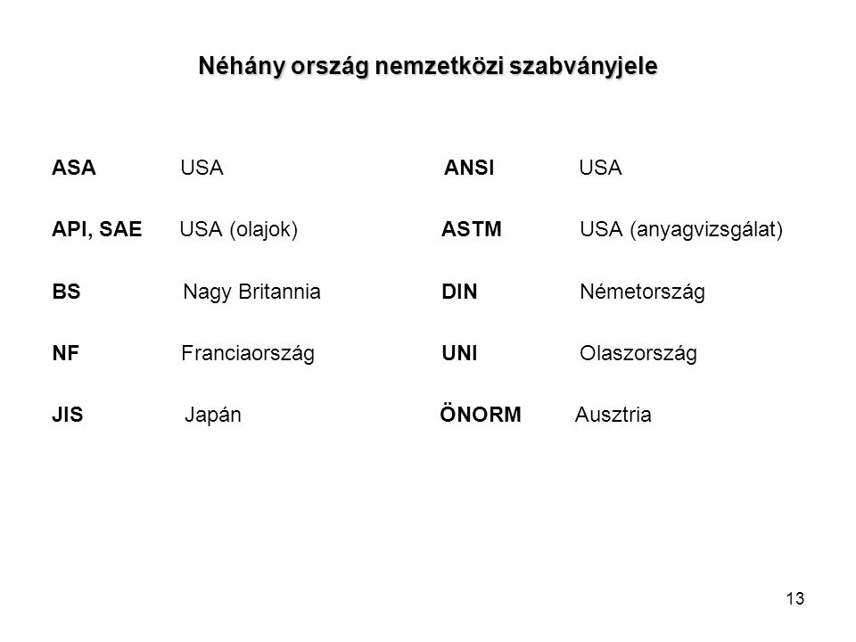13 Néhány ország nemzetközi szabványjele ASA USA ANSI USA API, SAE USA (olajok) ASTM USA (anyagvizsgálat) BS Nagy Britannia DIN Németország NF Francia