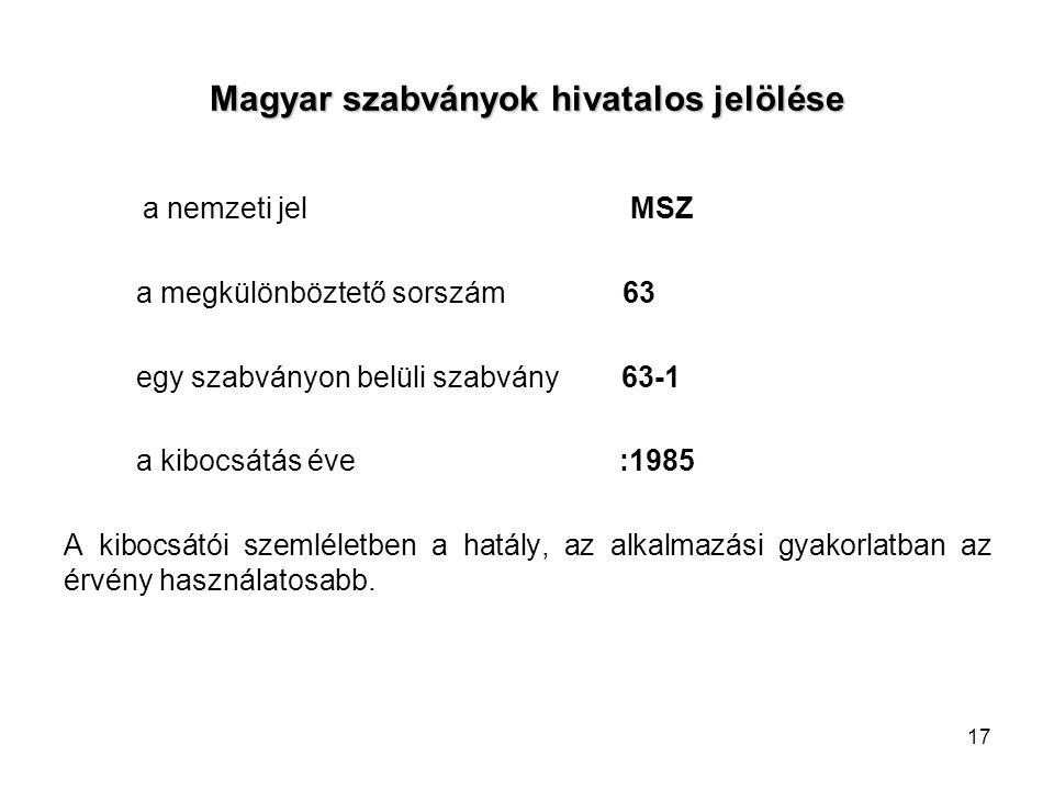 17 Magyar szabványok hivatalos jelölése a nemzeti jel MSZ a megkülönböztető sorszám 63 egy szabványon belüli szabvány 63-1 a kibocsátás éve :1985 A kibocsátói szemléletben a hatály, az alkalmazási gyakorlatban az érvény használatosabb.