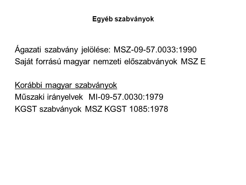 Egyéb szabványok Ágazati szabvány jelölése: MSZ-09-57.0033:1990 Saját forrású magyar nemzeti előszabványok MSZ E Korábbi magyar szabványok Műszaki irányelvek MI-09-57.0030:1979 KGST szabványok MSZ KGST 1085:1978
