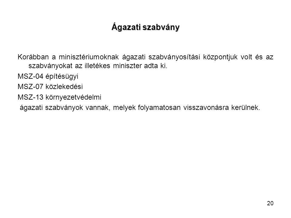 Ágazati szabvány Korábban a minisztériumoknak ágazati szabványosítási központjuk volt és az szabványokat az illetékes miniszter adta ki. MSZ-04 építés