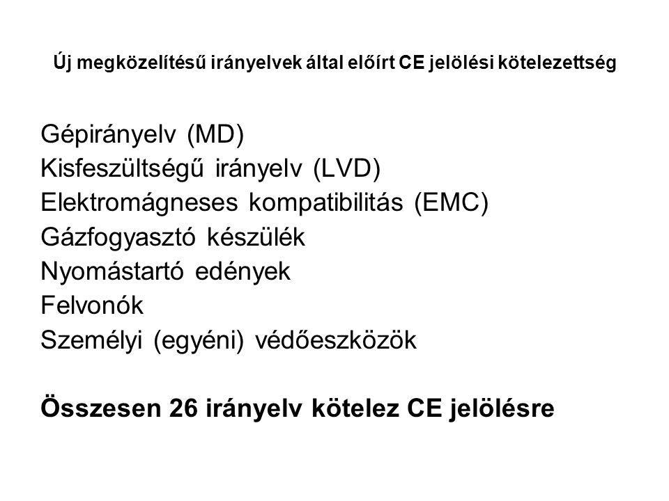 Új megközelítésű irányelvek által előírt CE jelölési kötelezettség Gépirányelv (MD) Kisfeszültségű irányelv (LVD) Elektromágneses kompatibilitás (EMC) Gázfogyasztó készülék Nyomástartó edények Felvonók Személyi (egyéni) védőeszközök Összesen 26 irányelv kötelez CE jelölésre