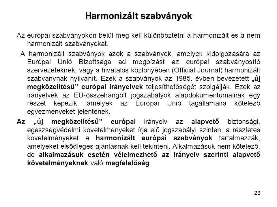 Harmonizált szabványok Az európai szabványokon belül meg kell különböztetni a harmonizált és a nem harmonizált szabványokat. A harmonizált szabványok