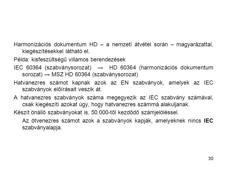 30 Harmonizációs dokumentum HD – a nemzeti átvétel során – magyarázattal, kiegészítésekkel látható el. Példa: kisfeszültségű villamos berendezések IEC
