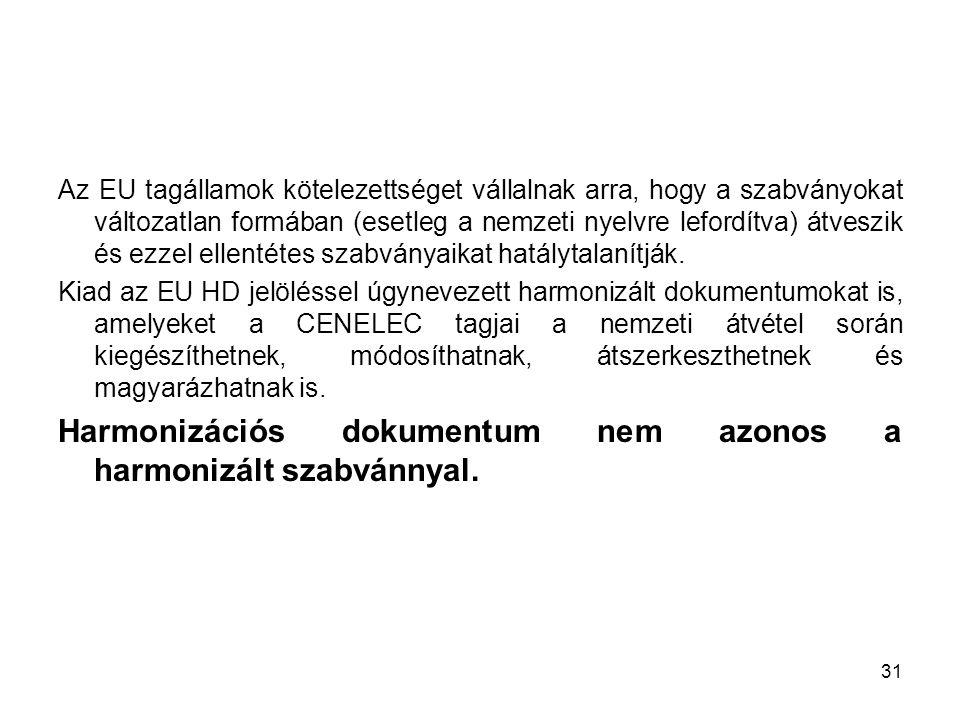 31 Az EU tagállamok kötelezettséget vállalnak arra, hogy a szabványokat változatlan formában (esetleg a nemzeti nyelvre lefordítva) átveszik és ezzel