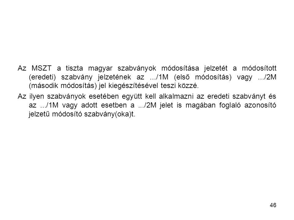 Az MSZT a tiszta magyar szabványok módosítása jelzetét a módosított (eredeti) szabvány jelzetének az.../1M (első módosítás) vagy.../2M (második módosítás) jel kiegészítésével teszi közzé.