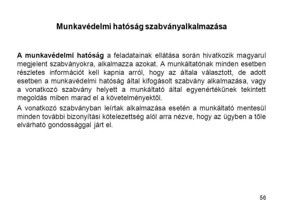Munkavédelmi hatóság szabványalkalmazása A munkavédelmi hatóság a feladatainak ellátása során hivatkozik magyarul megjelent szabványokra, alkalmazza azokat.