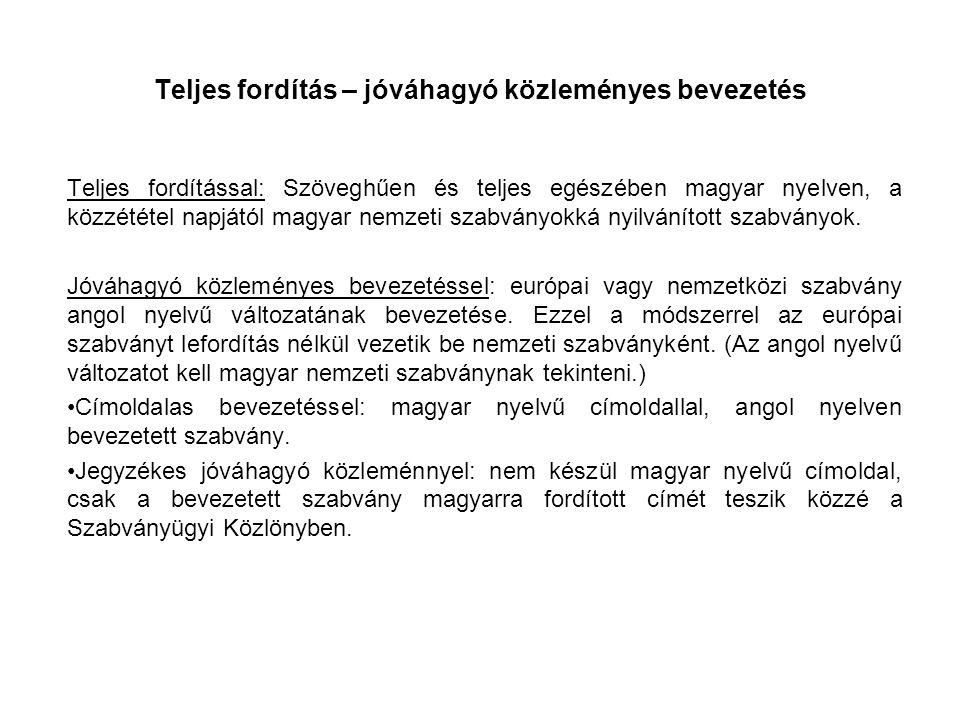 Teljes fordítás – jóváhagyó közleményes bevezetés Teljes fordítással: Szöveghűen és teljes egészében magyar nyelven, a közzététel napjától magyar nemzeti szabványokká nyilvánított szabványok.