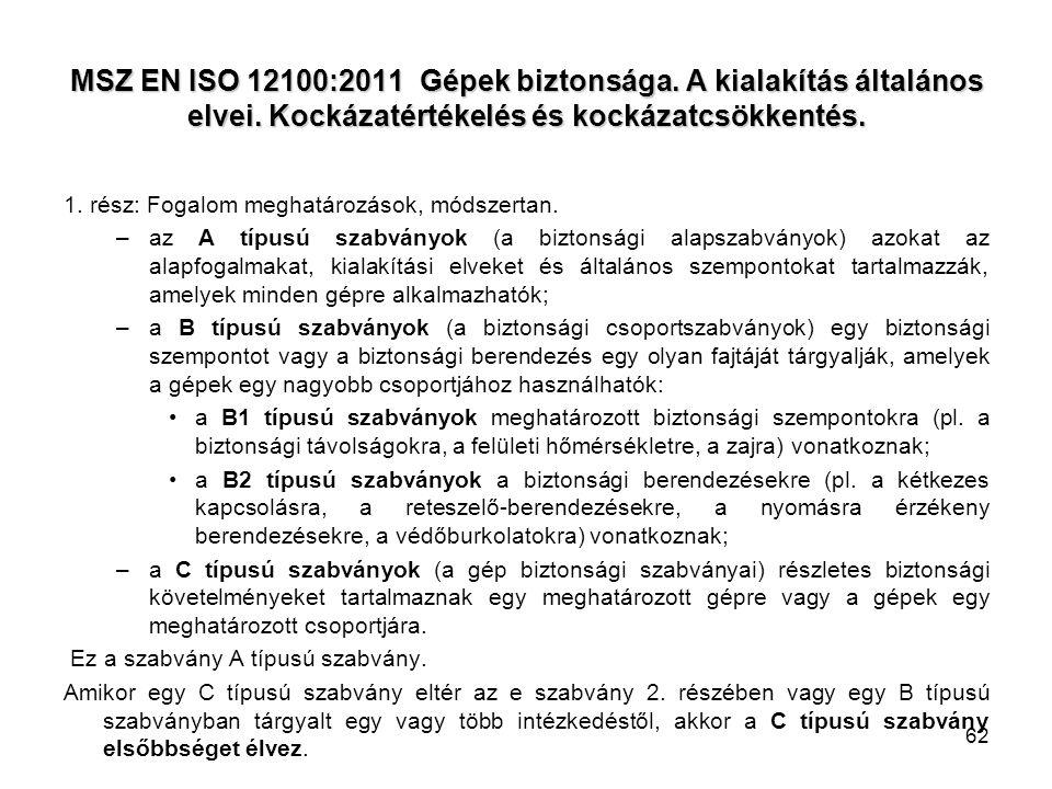 62 MSZ EN ISO 12100:2011 Gépek biztonsága. A kialakítás általános elvei. Kockázatértékelés és kockázatcsökkentés. 1. rész: Fogalom meghatározások, mód