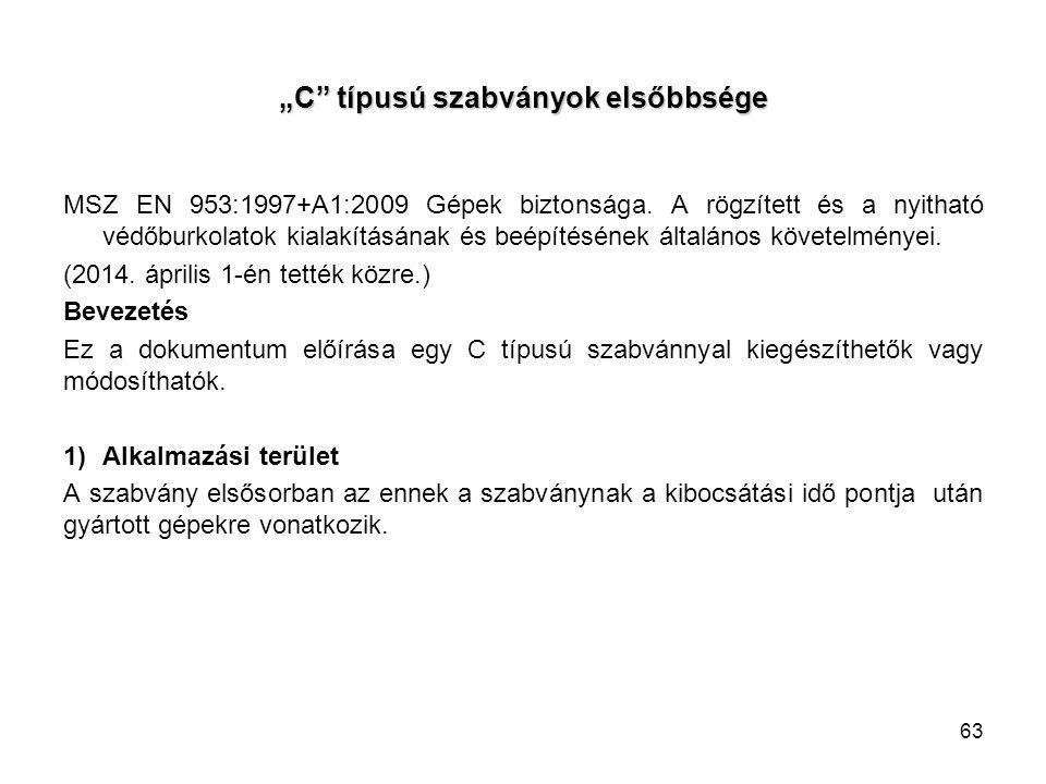 """""""C"""" típusú szabványok elsőbbsége MSZ EN 953:1997+A1:2009 Gépek biztonsága. A rögzített és a nyitható védőburkolatok kialakításának és beépítésének ált"""