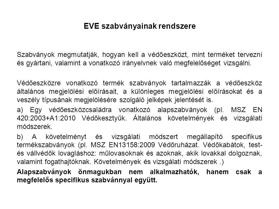 EVE szabványainak rendszere Szabványok megmutatják, hogyan kell a védőeszközt, mint terméket tervezni és gyártani, valamint a vonatkozó irányelvnek való megfelelőséget vizsgálni.