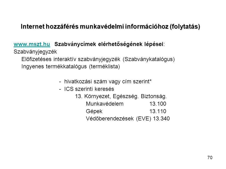 70 Internet hozzáférés munkavédelmi információhoz (folytatás) www.mszt.huwww.mszt.hu Szabványcímek elérhetőségének lépései: Szabványjegyzék Előfizetéses interaktív szabványjegyzék (Szabványkatalógus) Ingyenes termékkatalógus (terméklista) - hivatkozási szám vagy cím szerint* - ICS szerinti keresés 13.