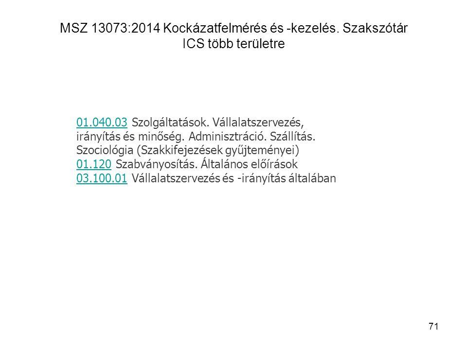 MSZ 13073:2014 Kockázatfelmérés és -kezelés. Szakszótár ICS több területre 71 01.040.0301.040.03 Szolgáltatások. Vállalatszervezés, irányítás és minős