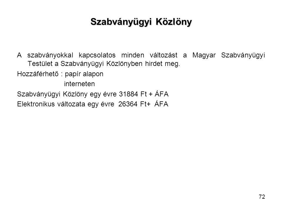Szabványügyi Közlöny A szabványokkal kapcsolatos minden változást a Magyar Szabványügyi Testület a Szabványügyi Közlönyben hirdet meg. Hozzáférhető :