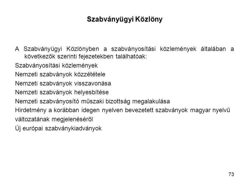 Szabványügyi Közlöny A Szabványügyi Közlönyben a szabványosítási közlemények általában a következők szerinti fejezetekben találhatóak: Szabványosítási közlemények Nemzeti szabványok közzététele Nemzeti szabványok visszavonása Nemzeti szabványok helyesbítése Nemzeti szabványosító műszaki bizottság megalakulása Hirdetmény a korábban idegen nyelven bevezetett szabványok magyar nyelvű változatának megjelenéséről Új európai szabványkiadványok 73