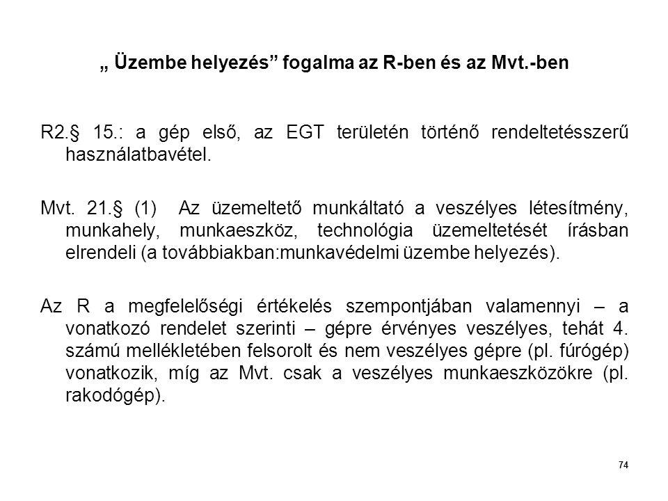 """74 """" Üzembe helyezés"""" fogalma az R-ben és az Mvt.-ben R2.§ 15.: a gép első, az EGT területén történő rendeltetésszerű használatbavétel. Mvt. 21.§ (1)"""