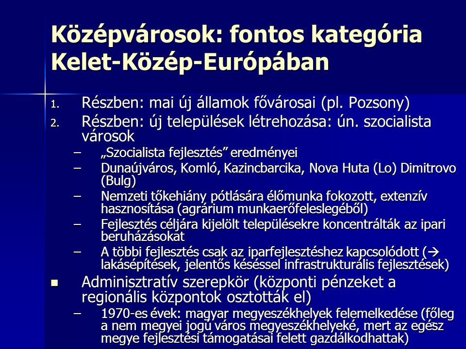 7 Középvárosok: fontos kategória Kelet-Közép-Európában 1. Részben: mai új államok fővárosai (pl. Pozsony) 2. Részben: új települések létrehozása: ún.