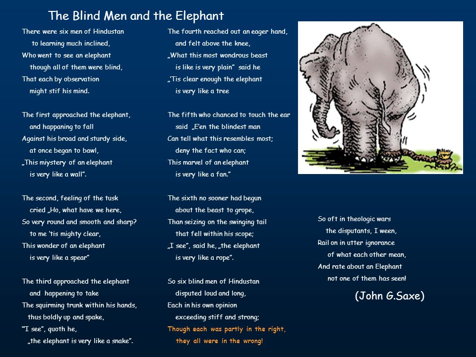 The Blind Men and the Elephant There were six men of Hindustan to learning much inclined, Who went to see an elephant though all of them were blind, That each by observation might stif his mind.