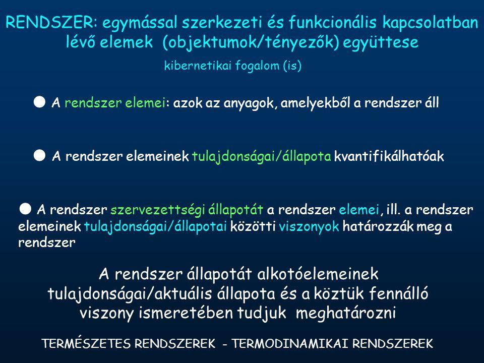 TERMÉSZETES RENDSZEREK - TERMODINAMIKAI RENDSZEREK RENDSZER: egymással szerkezeti és funkcionális kapcsolatban lévő elemek (objektumok/tényezők) együttese  A rendszer elemei: azok az anyagok, amelyekből a rendszer áll  A rendszer elemeinek tulajdonságai/állapota kvantifikálhatóak  A rendszer szervezettségi állapotát a rendszer elemei, ill.