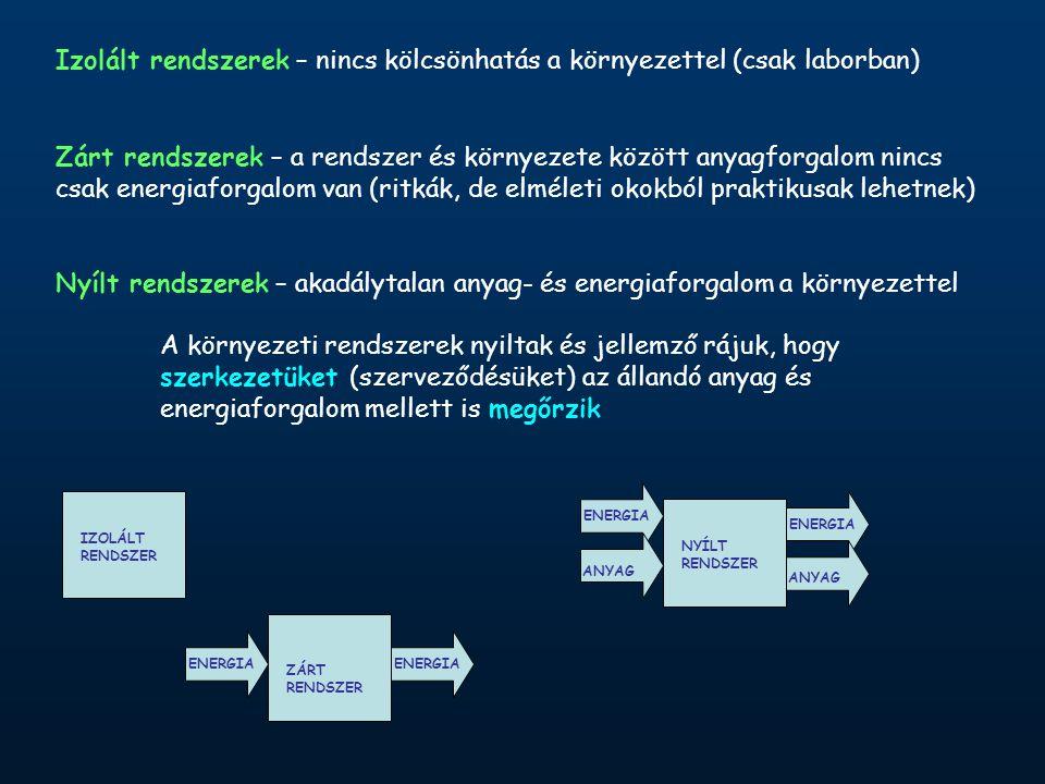 Izolált rendszerek – nincs kölcsönhatás a környezettel (csak laborban) Zárt rendszerek – a rendszer és környezete között anyagforgalom nincs csak energiaforgalom van (ritkák, de elméleti okokból praktikusak lehetnek) Nyílt rendszerek – akadálytalan anyag- és energiaforgalom a környezettel A környezeti rendszerek nyiltak és jellemző rájuk, hogy szerkezetüket (szerveződésüket) az állandó anyag és energiaforgalom mellett is megőrzik ENERGIA IZOLÁLT RENDSZER ANYAG ZÁRT RENDSZER NYÍLT RENDSZER