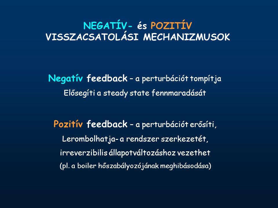 NEGATÍV- és POZITÍV VISSZACSATOLÁSI MECHANIZMUSOK Negatív feedback – a perturbációt tompítja Elősegíti a steady state fennmaradását Pozitív feedback – a perturbációt erősíti, Lerombolhatja- a rendszer szerkezetét, irreverzibilis állapotváltozáshoz vezethet (pl.