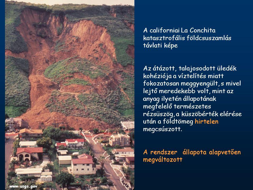 A californiai La Conchita katasztrofális földcsuszamlás távlati képe Az átázott, talajosodott üledék kohéziója a víztelítés miatt fokozatosan meggyengült, s mivel lejtő meredekebb volt, mint az anyag ilyetén állapotának megfelelő természetes rézsüszög, a küszöbérték elérése után a földtömeg hirtelen megcsúszott.