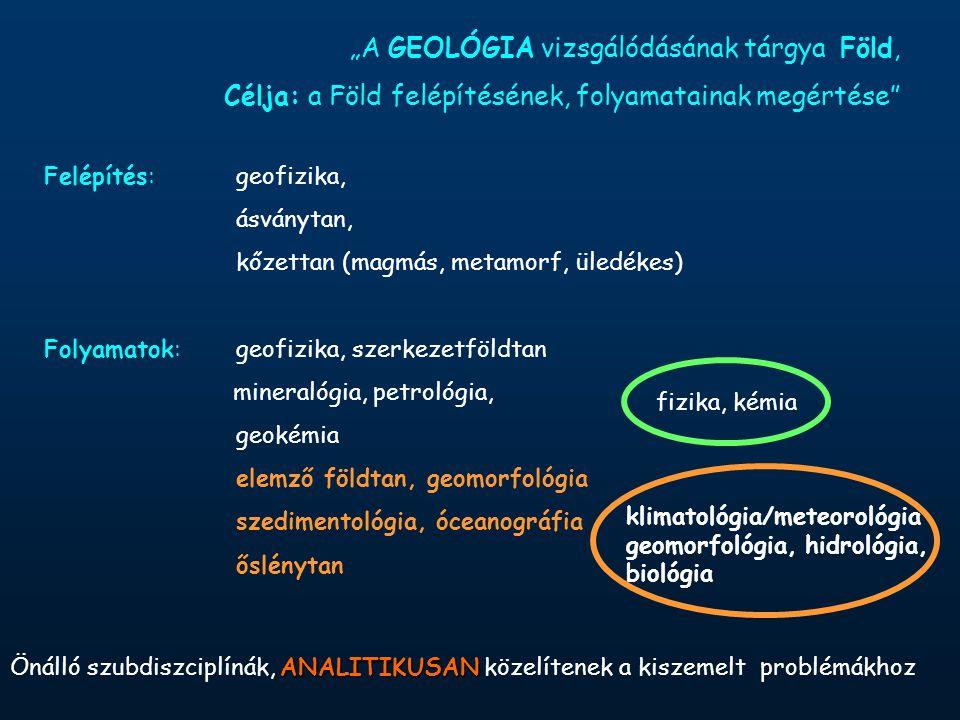"""""""A GEOLÓGIA vizsgálódásának tárgya Föld, Célja: a Föld felépítésének, folyamatainak megértése Felépítés:geofizika, ásványtan, kőzettan (magmás, metamorf, üledékes) Folyamatok:geofizika, szerkezetföldtan mineralógia, petrológia, geokémia elemző földtan, geomorfológia szedimentológia, óceanográfia őslénytan ANALITIKUSAN Önálló szubdiszciplínák, ANALITIKUSAN közelítenek a kiszemelt problémákhoz klimatológia/meteorológia geomorfológia, hidrológia, biológia fizika, kémia"""