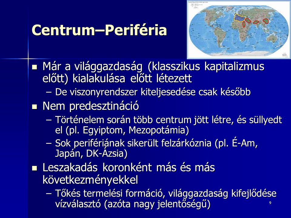 10Centrum–Periféria Centrum–periféria viszony: nagy gazdasági térségekben kialakult erőközpontok (Ny-Eu, USA, Japán) és vonzáskörük kapcsolata Centrum–periféria viszony: nagy gazdasági térségekben kialakult erőközpontok (Ny-Eu, USA, Japán) és vonzáskörük kapcsolata –Centrum: erőterek akciócentruma, növekedési pólus, hegemón országgal az élén –Félperiféria: belső peremen –Periféria: külső peremen Akciócentrum és vonzáskörzet: eltérő hatékonysági előnyök  nemzetgazdaságok specializációja  világméretű munkamegosztás  kölcsönös függőség (interdependencia) Akciócentrum és vonzáskörzet: eltérő hatékonysági előnyök  nemzetgazdaságok specializációja  világméretű munkamegosztás  kölcsönös függőség (interdependencia) De: függés mértéke, munkamegosztás előnye nem egyenlő  aszimmetrikus kapcsolatrendszer  sajátos gazdasági nagytérség De: függés mértéke, munkamegosztás előnye nem egyenlő  aszimmetrikus kapcsolatrendszer  sajátos gazdasági nagytérség Egyes világgazdasági erőterek egymáshoz való viszonya is változik  változik a világgazdaság térszerkezete is Egyes világgazdasági erőterek egymáshoz való viszonya is változik  változik a világgazdaság térszerkezete is
